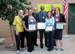 Recognized for their efforts in leading the BreatheEasy initiative were (left to right) MCCD's Bianca Rodriguez, Chancellor Rufus Glasper, Michele Hamm and OTCDP Prevention Program Education Supervisor Rebecca Henry.