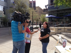 Media from 3 different local television stations were present to interview the participants and film their demenstrations.