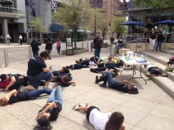 "Students perform a ""Stop and Drop"" to signify the 1,400 a day and 500,000 a year who die from tobacco use."