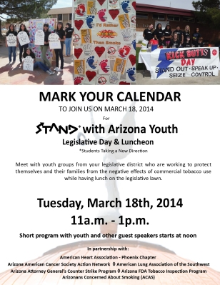 STAND with Arizona Youth Legislative Day Mar. 18th 11am-1pm